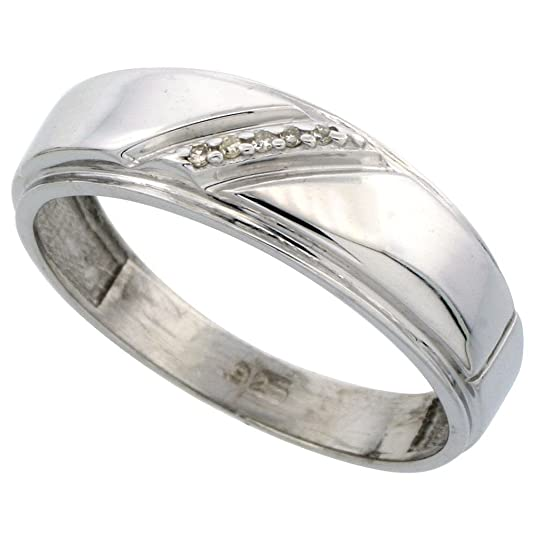 Sterling Silver Men's Diamond Band, 7mm Wide