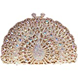 Fawziya® Luxury Crystal Clutches For Women Peacock Clutch Evening Bag