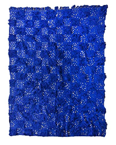 nuLOOM One-of-a-Kind Hand-Knotted Vintage Moroccan Wedding Shawl Rug, Persian Blue, 5' 10 x 8' 1