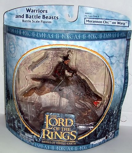 2004 - New Line / Play Along - Lord of the Rings : Armies of Middle Earth - Morannon Orc on Warg - Warriors & Battle Beasts - Battle Scale Figures - Out of Production - Limited Edition - Collectible - 1