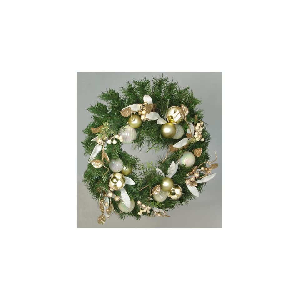 18 Gold Glamor Pre Decorated Artificial Glitter Christmas Wreath   Unlit
