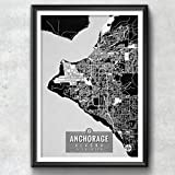 Anchorage Alaska Map with Coordinates, Anchorage Map, Map Art, Map Print, Anchorage Print, Anchorage Wall Art, Anchorage Gift, Map, Alaska