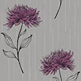 Fine Decor Amelia Floral Wallpaper Purple / Silver