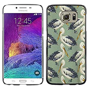 Omega Covers - Snap on Hard Back Case Cover Shell FOR Samsung Galaxy S6 - Bird Stork Pattern Nature Painting