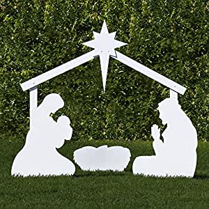Outdoor Nativity Store Silhouette Outdoor Nativity Set - Holy Family Yard Scene (Large)