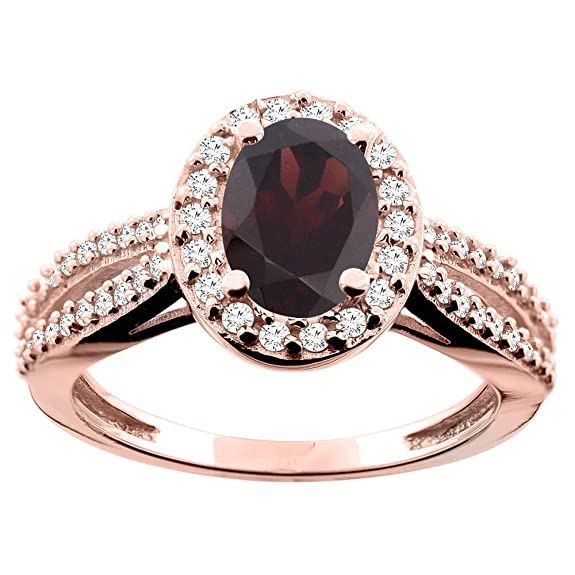 14ct Rose Gold Natural Garnet Ring Oval 8x6mm Diamond Accent 7/16 inch wide, size Q