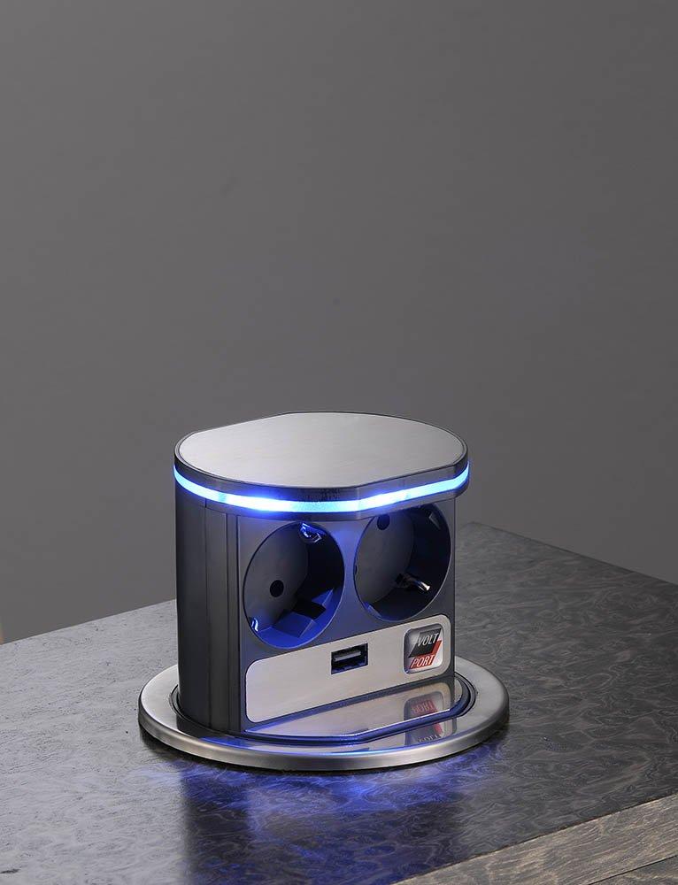2fach Steckdose VoltPort Stromstation mit LEDBeleuchtung und USB Anschluss  BeleuchtungKritiken und weitere Infos