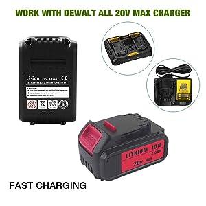6-Pack 4000mAh 20V DCB204 Battery Replacement for Dewalt 20-Volt MAX XR Lithium ion Batteries DCB205 DCB200 DCB203 DCB206 DCB205-2 DCB180 DCD985B DCD771 DCB201 (Color: black+red, Tamaño: Pocket Size)
