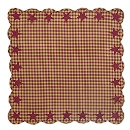 VHC Brands 20215 Burgundy Star Scalloped Table Topper 40 x 40 in.