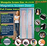 KARP Premium Quality Magnetic Screen Door Full Frame Velcro - Keep Bugs Out Lets Fresh Air In. No More Mosquitos or Flying Insects - Children and Pet Friendly, Instant Bug Mesh with Top-to-Bottom Seal, Snaps Shut Like Magic for a Hands-Free Bug-Proof Curtain - (3.5 Foot Length X 7 Foot Height) (Pink Color), Package weight - 645 Gram