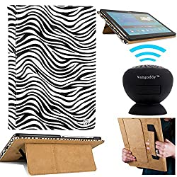 Vangoddy Black And White Zebra Tablet Case + Black Bluetooth Speaker With Suction Stand (Black And White Zebra)