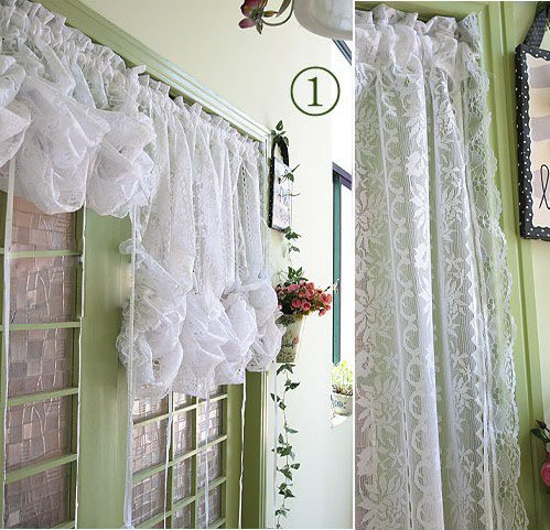 Romantic Ruffle Adjustable Balloon Lace Shade/Curtain