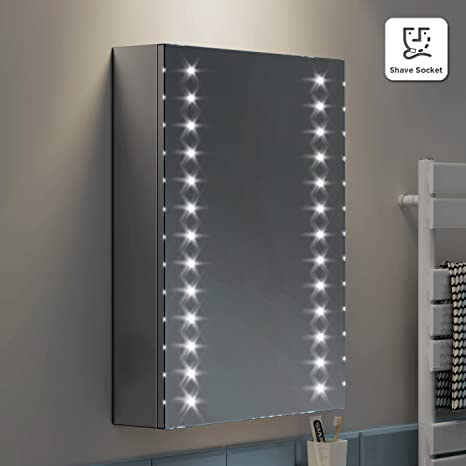 498 x 700 mm Illuminated LED Bathroom Mirror Cabinet with Shaver Socket MC135