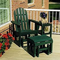 Hot Sale Bundle-78 Adirondack Glider Chair & Ottoman Set (4 Pieces) Finish: Slate Grey