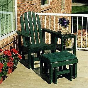 Bundle-78 Adirondack Glider Chair & Ottoman Set (4 Pieces) Finish: Hunter Green