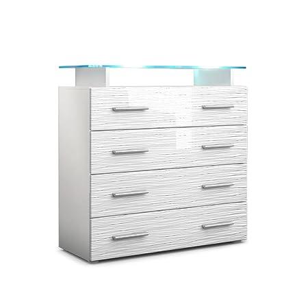 Kommode Sideboard Pavos V2 in Weiß / Weiß Silverline Hochglanz