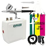 OPHIR Portable Mini Airbrush Air Compressor Kit Dual Action Airbrush Set with Cleaning Brush Adjustable Spray Gun for Hobby Model Crafts (White) (Color: White)