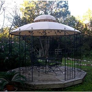 garden style round gazebo replacement canopy metal gazebo patio lawn garden. Black Bedroom Furniture Sets. Home Design Ideas