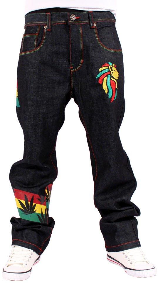 Money Talks Men's Rasta One Love Loose Fit Jeans