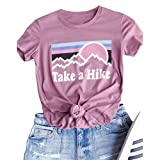 Enmeng Womens Casual Take A Hike Letter Print T-Shirt Short Sleeve Hiker Tee Tops (M, Pink) (Color: Pink, Tamaño: Medium)