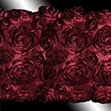 "E'Plaza 2pcs New Burgundy 3D Raised Ribbon Roses Cushion Covers Throw Pillow Cases 16*16"" (2, burgundy)"