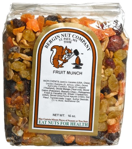 Buy Bergin Nut Company Fruit Munch, 16-Ounce Bags (Pack of 4) (Bergin Nut Company, Health & Personal Care, Products, Food & Snacks, Snacks Cookies & Candy, Snack Food, Trail Mix)