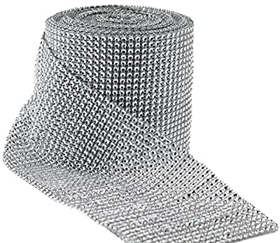 Valley Mall Silver Diamond Rhinestone Ribbon Wrap BULK 30 feet - Wedding Decorations, Party Supplies