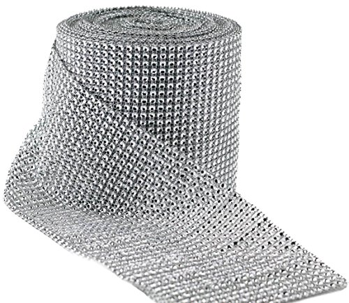 Lowest Price! Valley Mall Silver Diamond Rhinestone Ribbon Wrap BULK 30 feet - Wedding Decorations, ...