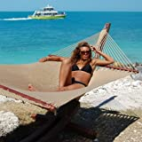 Caribbean Jumbo Hammock with Siberian Larch Wood Hammock Stand (Tan)