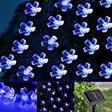 LE® Solar Flower Fairy String Lights 50 LEDs 16.5ft - Waterproof - Blue - Portable - Blossom Christmas Lights with Light Sensor - Outdoor and Indoor Use - Ideal for Wedding - Party - Halloween Lights Decoration