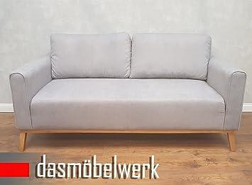 dasmöbelwerk Sessel Sitzmöbel Polstermöbel Retro 3er Sofa Landhausstil Sofas Grau Campus