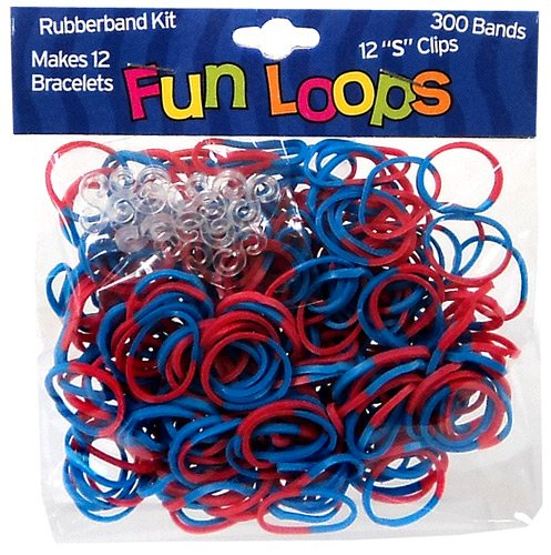 Fun Loops 300 RED & BLUE Tie Dye Rubber Bands with 'S' Clips