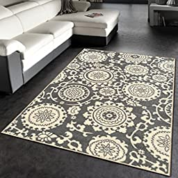 Rubber Backed 3-Piece Rug SET Floral Swirl Medallion Grey & Ivory Non-Slip Area Rug - Rana Collection Kitchen Dining Living Hallway Bathroom Pet Entry Rugs RAN2033-3PC