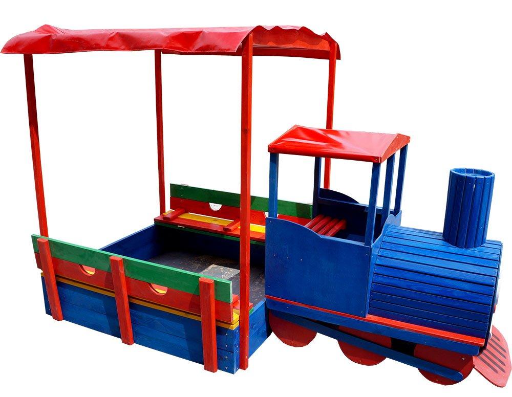"""FunnyClouds Holz Sandkasten """"Sandtrain"""" Zug mit Dach, Sitzbänken & Deckel Sandbox Sandkiste bestellen"""