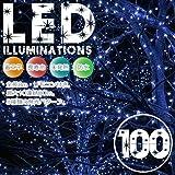 イルミネーションLEDライト カラー:ブルー【全長8M】LED100灯 点灯8パターン・コントローラ付