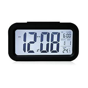 HITO - Despertador Reloj con alarma de 5,3 pulgadas - Despertador LED con información de fecha, función snooze, sensor luminoso y luz nocturna   Comentarios de clientes y más información
