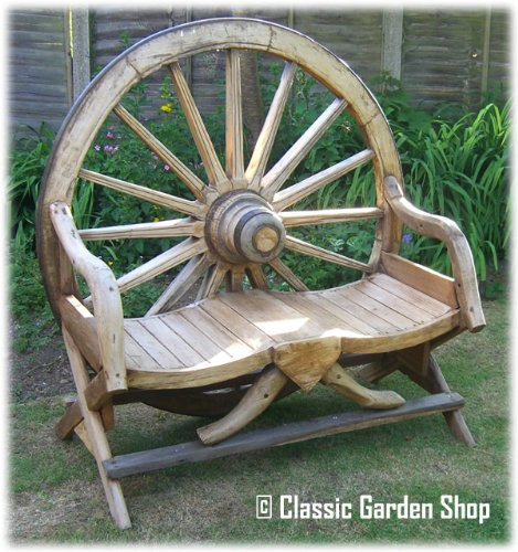 Cart Wheel Bench Reclaimed Teak Cart Wheel