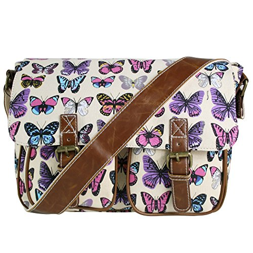 Miss Lulu Ladies Butterfly Canvas Satchel Bag