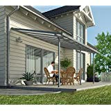 Hochwertige Aluminium Terrassenüberdachung, Terrassendach 300x851 cm (TxB) - grau