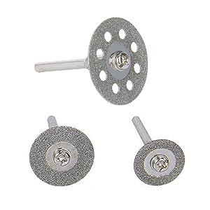 30 Pcs Diamond Cutting Wheel (25mm/20mm/16mm Each 10), Diamond Coated Cutting Wheel and 6pcs 3mm Mandrel For Dremel Rotary Tool