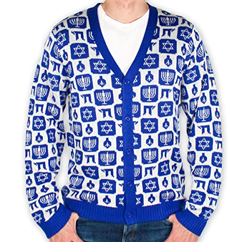 Men's Classy Chanukah Cardigan Sweater (Navy) Ugly Holiday Sweater (Large)