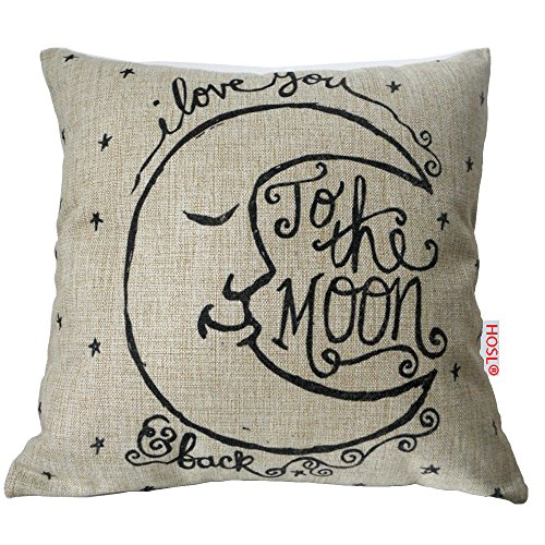 HOSL I love You to the Moon and Back Cotton Linen Square Decorative Throw Pillow Case Cushion Cover 17.3*17.3 Inch (44CM*44CM)