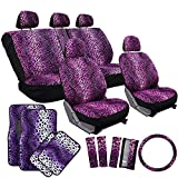 OxGord 21pc Leopard Seat Cover & Floor Mat Set for the Suzuki Forsa Hatchback in Purple Leopard Print