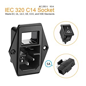 MXRS Inlet Module Plug 5A Fuse Switch Male Power Socket 10A 250V 3 Pin IEC320 C14 (3 Pack) (Color: 1)