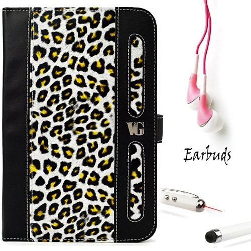 Black And Yellow Leopard Vangoddy Dauphine Lightweight, Durable Portfolio Jacket Cover Case For Samsung Galaxy Tab 2 7-Inch Student Edition + Pink Crystal Clear High Quality Hd Noise Filter Ear Buds ( 3.5Mm Jack ) + Professor Pen 3 In 1 Red Laser Pointer