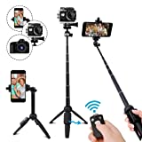 Selfie Stick Tripod,40 Inch Extendable Selfie Stick Tripod with Wireless Remote Control,Compatible with iPhone 6 7 8 X Plus, Samsung Galaxy S9 Note8, Gopro,Digital Cameras (Color: Black(40in))