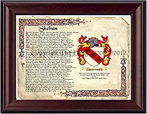 Skehan Coat of Arms/ Family Crest on Fine Paper and Family History