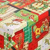 WACHSTUCH TISCHDECKE abwischbar Meterware, Größe wählbar, 2000x140 cm, Glatt Weihnachten Bunt