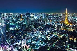 Skyline By Night Photo Wallpaper - Tokyo By Night Mural - Xxl Skyline Wall Decoration