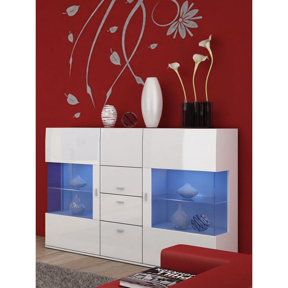 JUSThome Jena Kommode Sideboard Wohnzimmerschrank (HxBxT): 130x154x41 Farbe: Weiß Matt / Weiß Hochglanz